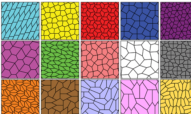 All the pentagonal tilings discovered thus far. Ed Pegg/Wikipedia