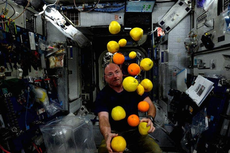 Scott Kelly selfie while juggling fruit.