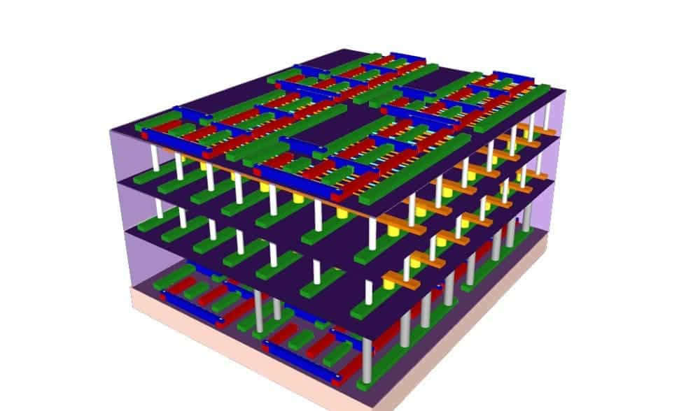 The new design uses a special material called carbon nanotubes, which allows memory and processor layers to be stacked in three dimensions. Image: Max Shulaker