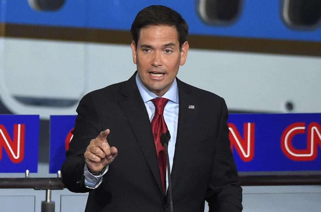 Republican presidential candidate, Sen. Marco Rubio, R-Fla., speaks during the CNN Republican presidential debate at the Ronald Reagan Presidential Library and Museum on Wednesday, Sept. 16, 2015. (AP photo)