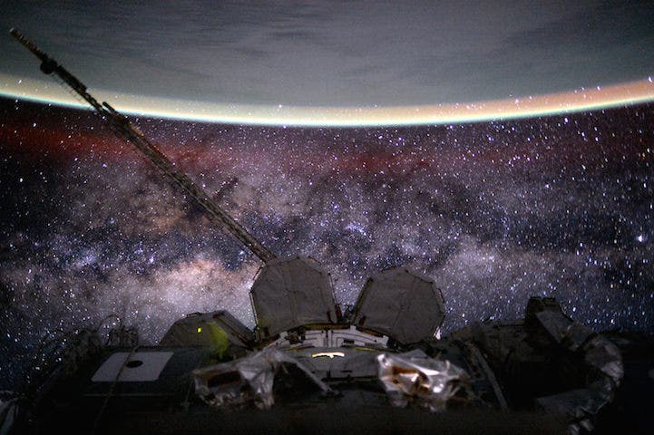 """Day 135. Milky Way. You're old, dusty, gassy and warped. But beautiful. Good night from the International Space Station!"""