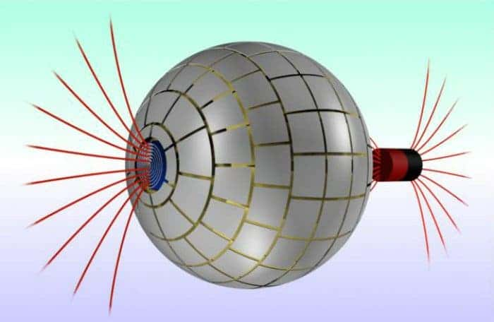 (Left) 3-D diagram of the magnetic wormhole shows how the magnetic field lines (in red) leaves a magnet on the right pass through the wormhole. (Right) In terms of magnetism the wormhole is undetectable, which means that the magnetic field seems to disappear on the right only to reappear on the left in the form of a magnetic monopole. Image: (Left) 3-D diagram of the magnetic wormhole shows how the magnetic field lines (in red) leaves a magnet on the right pass through the wormhole. (Right) In terms of magnetism the wormhole is undetectable, which means that the magnetic field seems to disappear on the right only to reappear on the left in the form of a magnetic monopole.