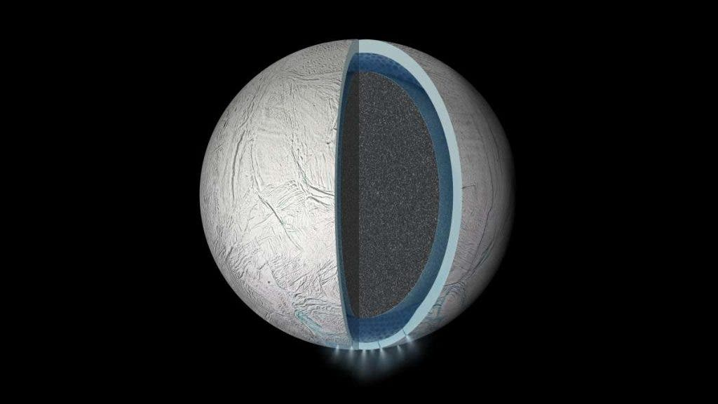What Enceladus might look like in a cross-section view. Image: NASA JPL