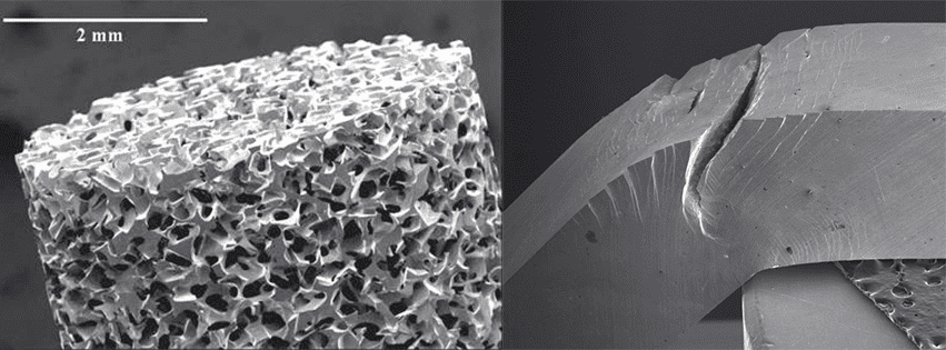 Electron scan microscope images of metallic glass.