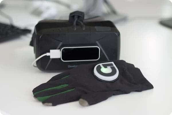 Haptic feedback allows you physically feel objects in a virtual world. Gloveone is one of the most exciting haptic feedback products - it lets you feel the virtual world at the tip of your fingers. The gloves are capable of reproducing the feeling of objects in your hand, and according to its founders you can even feel the weight of things in your hand. Image: NeuroDigital