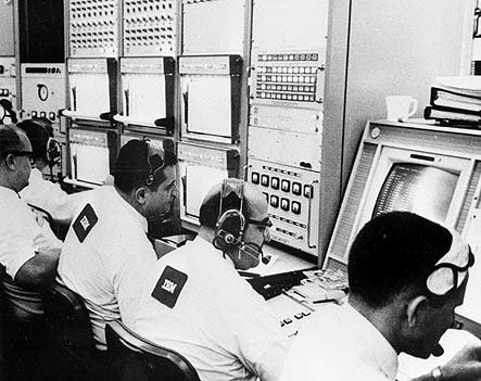 Image: NASA engineers operating IBM System/360 Model 75 mainframe computers.