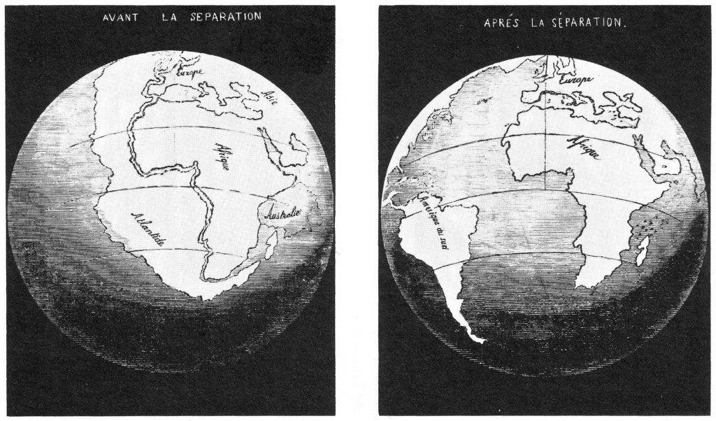 50 years ago how the continents fit together in 1858 snider pellegrini made these two maps they depict his interpretation of gumiabroncs Images