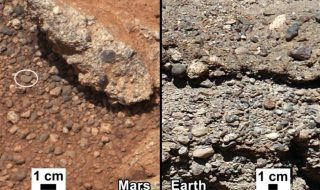 Curiosity rover image of Link outcrop on Mars, showing rounded gravel fragments, compared with similar rocks seen on Earth. (Credit: NASA/JPL-Caltech/MSSS and PSI)