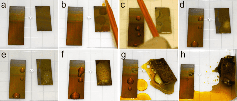 Accelerated corrosion test, in which unmodified stainless steel (300 grade) (right sample)and the lower part of the TO-SLIPS sample with a 600-nm-thick porous TO film on steel (left sample)were exposed to very corrosive Glyceregia stainless steel etchant. (a-h) Images show corrosion evolution as a function of contact time.