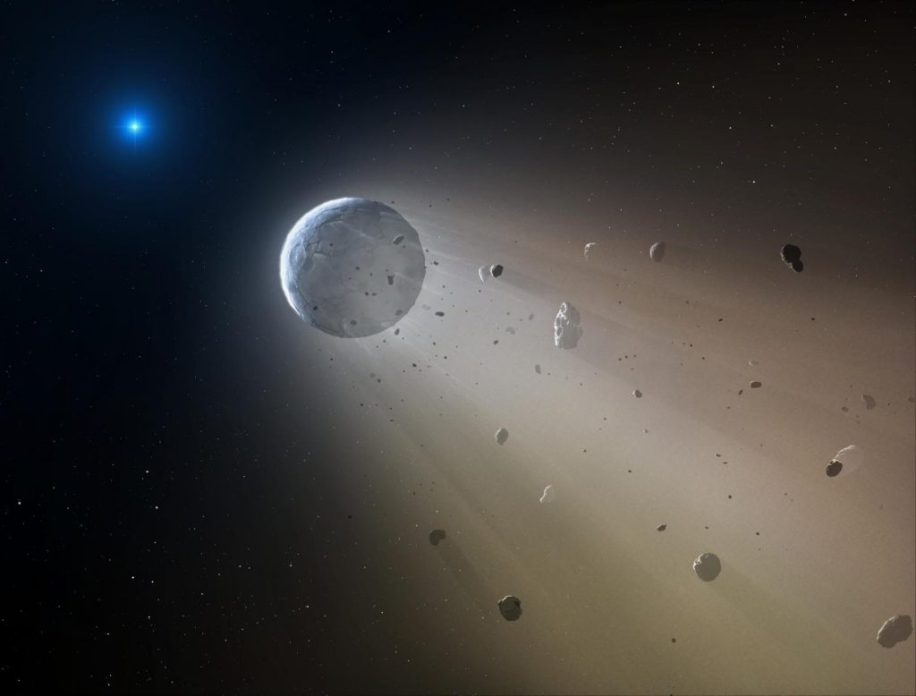 An artist's conception of a Ceres-like asteroid slowly disintegrating as it orbits a white dwarf star. (Credit: Mark A. Garlick)