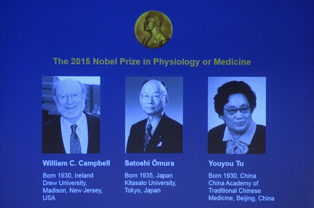 The winners of the Nobel Medicine prize 2015 (L-R) Irish-born William C Campbell, Satoshi Omura of Japan and China's Youyou Tu. Photograph credits to: Jonathan Nackstrand