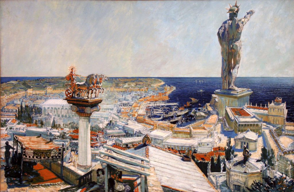 An oil painting representing the ancient city of Rhodes by Frantisek Kupka (1906 CE). Probably a realistic representation of the Colossus of Rhodes which was a gigantic bronze statue, 32 metres high, of the island's patron god Helios, the Sun god. The statue was sculpted by Chares of Lindos, c. 304 BCE and was toppled by the earthquake of 228 or 226 BCE.