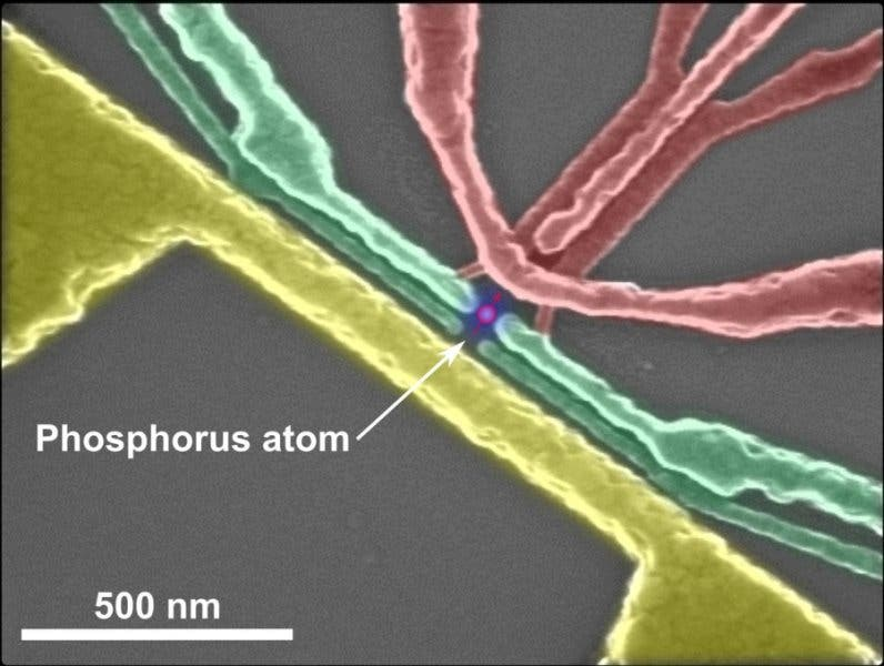 False-colour electron microscope image of the silicon nanoelectronic device which contains the phosphorus atom used for the demonstration of quantum entanglement. Credit: University of New South Wales
