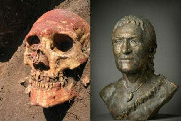 Left: Yamnaya-skull from Samara region coloured with red ochre. (Photo: Natalia Shishlina). Right: Reconstruction of Yamnaya-skull. Male face from Yamnaya culture, from the Caspian steppes in Russia between 5,000-4,800 years ago. (Reconstruction: Alexey Nechvaloda)