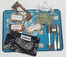 Food aboard the Space Shuttle served on a tray, with magnets, springs, and Velcro to hold the cutlery and food packets down. Image via wikipedia