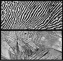Top: Annealed steel alloy, showing a heterogeneous, lamellar microstructure, consisting of phases richer in carbon next to phases richer in iron. Bottom: tempered steel, in which the carbon remains trapped within the crystals, creating internal stresses. While steel is an alloy, copper crystals behave similarly to heat treatment, with cold-shaped pieces showing the same internal stresses between crystals, helping them hold each other in place. Image via wikipedia