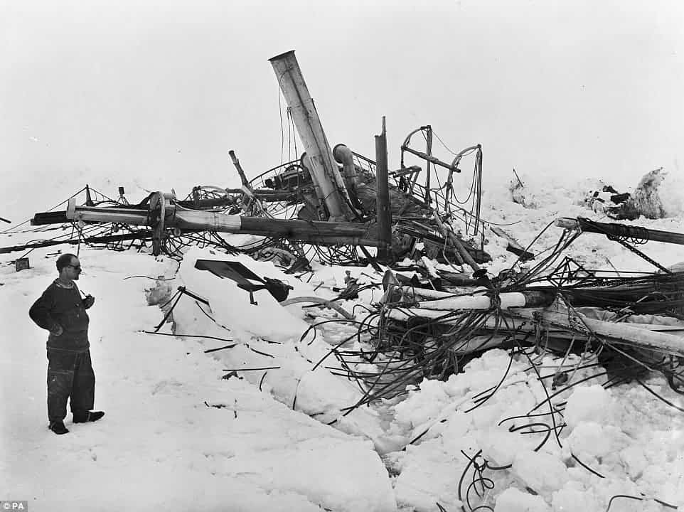 What remained of the ship after it was crushed by the ice.
