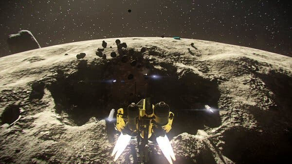 "Screenshot from the video game Blackspace  - ""a defensive action / strategy game that takes place in the not too distant future, when asteroid mining has become common [and you need to] defend yourself from incoming enemies who loot and destroy."""