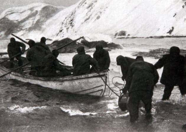 Shackleton and crew members took a life boat through the freezing Antarctic shoreline against all odds.