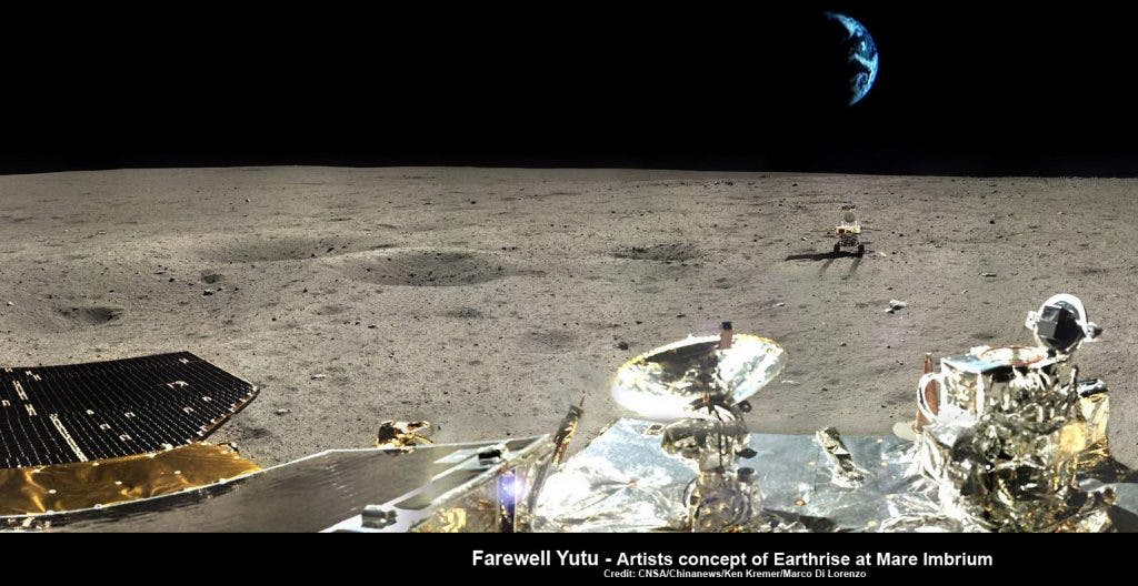 Farewell Yutu – artistic impression of Earthrise over Yutu at lunar landing site. This composite photomosaic combines farewell view of China's Yutu rover with Moon's surface terrain at Mare Imbrium landing site and enlarged photo of Earth – all images taken by Chang'e-3 lander. Credit: CNSA/Chinanews/Ken Kremer/Marco Di Lorenzo