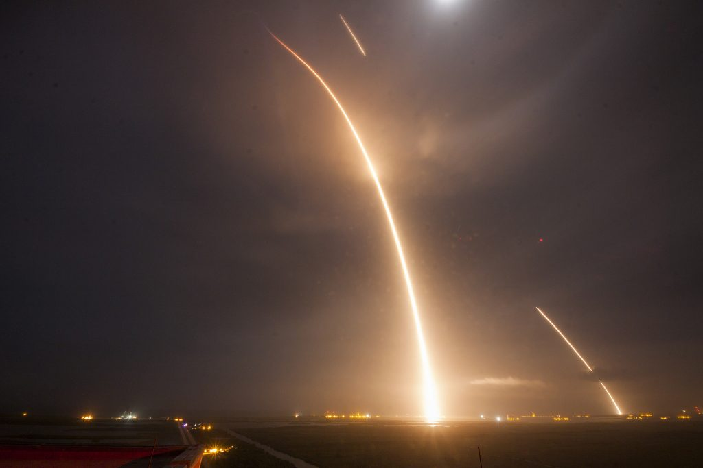 A beautiful, long exposure photo showing the trails Falcon 9 made both at launch and landing. Image:
