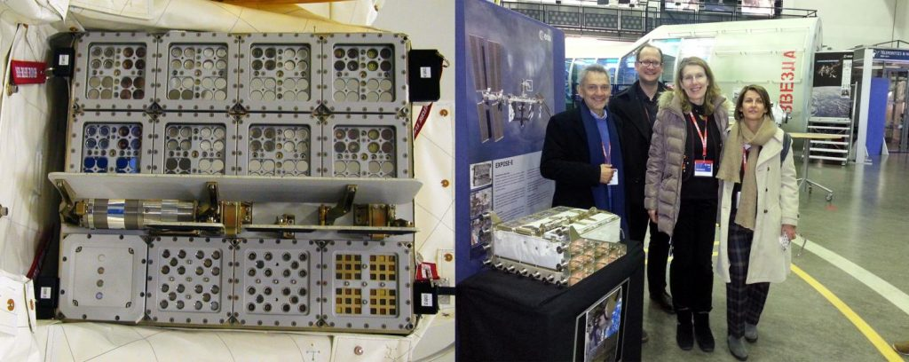 Left: The EXPOSE-E platform was sent on the ISS. Right: the European researchers involved in the study. Image: ESA