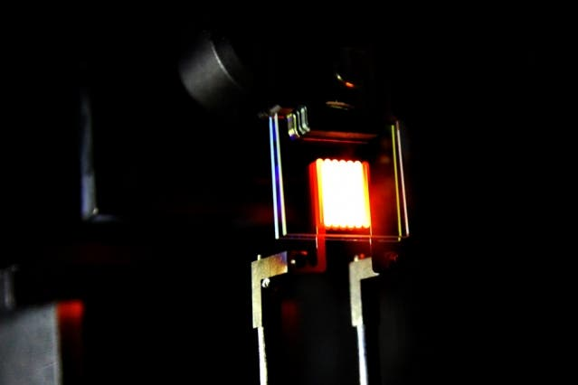 A proof-of-concept device built by MIT. This new incandescent light bulb design is already more efficient than most LEDs and CFLs on the market. Image: MIT