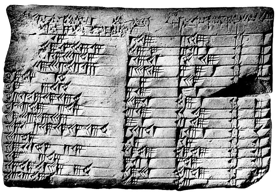 PLIMPTON 322, AN ANCIENT MESOPOTAMIAN MATHEMATICAL TABLET WHOSE PURPOSE IS STILL A MYSTERY. IMAGE: PUBLIC DOMAIN, VIA WIKIMEDIA COMMONS.
