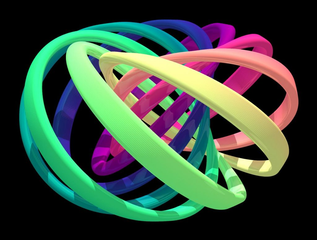 Visualization of the structure of the created quantum knot. Each colorful band represents a set of nearby directions of the quantum field that is knotted. Note that each band is twisted and linked with the others once. Untying the knot requires the bands to separate, which is not possible without breaking them. Credit: David Hall.