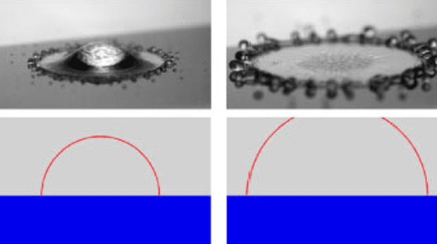 Liquid droplets on a very cool surface look more like a ring, then a pancake as most modules assume. Image: University of Twente