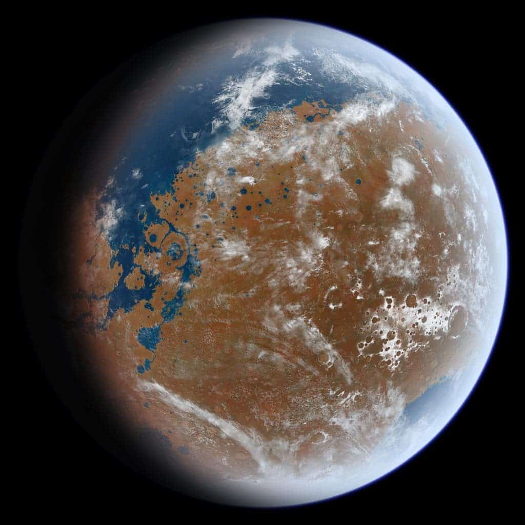 An artist's impression of what ancient Mars may have looked like, based on geological data. Image by Ittiz / NASA.