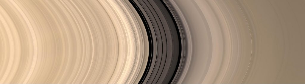 Visible-light comparison of Saturn's B ring (left) and A ring (right). These are separated by the Cassini division. Image: NASA