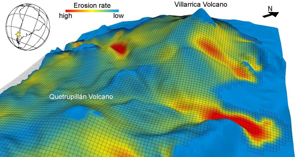 A 3D model simulation of a glaciation on the Villarrica Volcano in Chile.  Credit: Pietro Sternai.