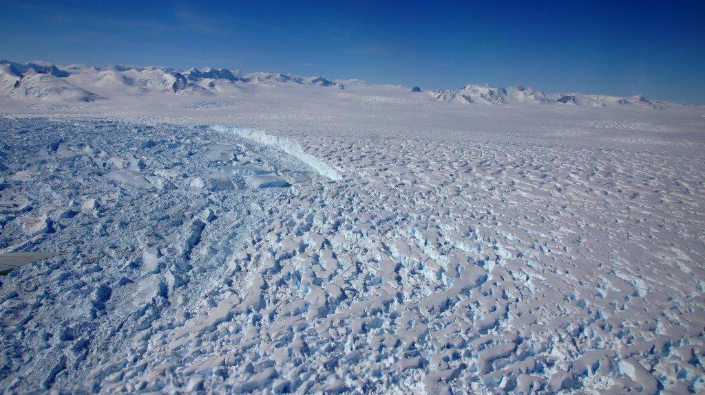 Calving front of Fleming Glacier, an outlet glacier which fed the former Wordie Ice Shelf, which broke up towards the end of the 1990s. Credits: Matthias Braun, University of Erlangen-Nuremberg, Germany.