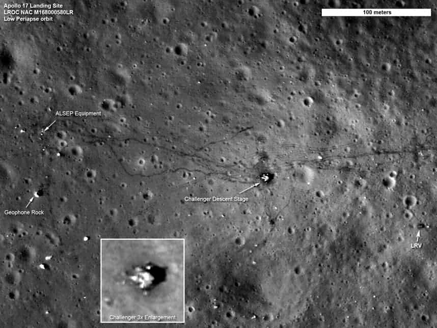 Apollo 17 traces left on the moon. Image: NASA
