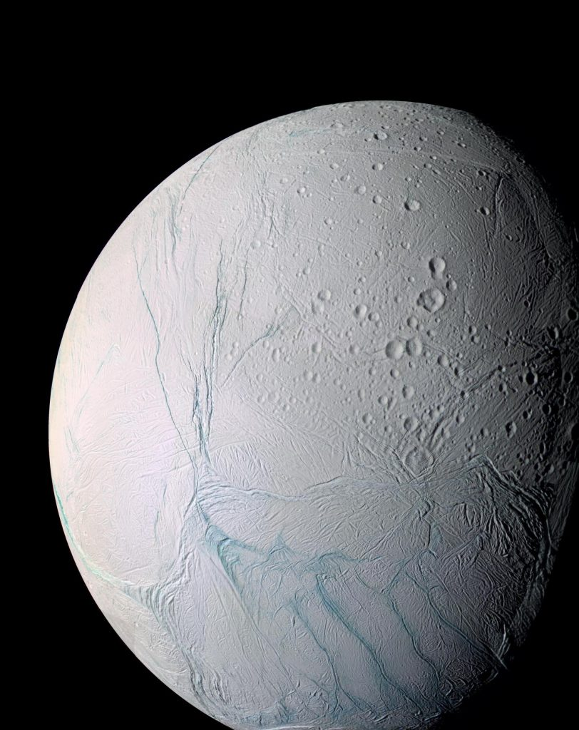 This enhanced color view of Enceladus shows much of the southern hemisphere and includes the south polar terrain at the bottom of the image. Scientists at the University of Chicago and Princeton University have published a new study describing the process that drives and sustains this moon of Saturn's long-lived geysers. Photo by NASA/JPL