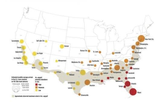 Study estimates Zika Virus risk across 50 biggest cities in US