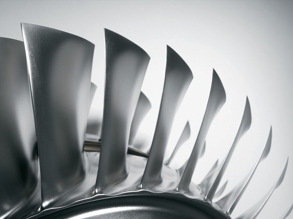 Compressor blisks for the CF34 jet engine made from a single piece of metal. Image credit: GE Global Research