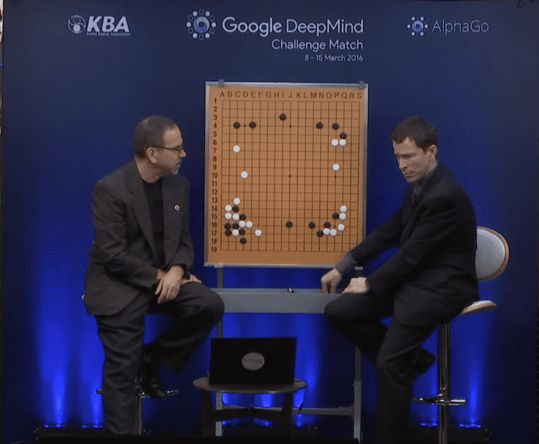 Commentators being shocked by one of AlphaGo's moves.