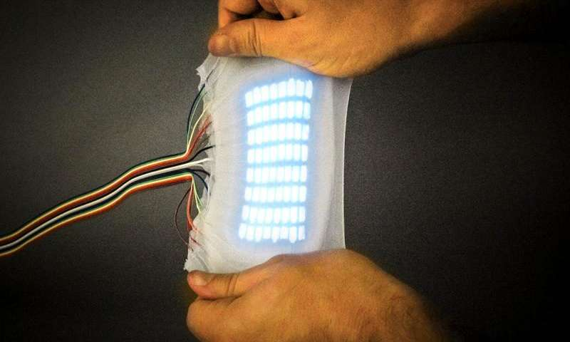 A highly stretchable electroluminescent skin capable of stretching to nearly five times its original size. Credit: Chris Larson