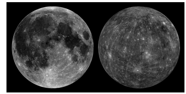 Comparison of relative reflectance of the Moon and Mercury. The lunar mosaic was assembled from images taken with the 643 nm filter of the Lunar Reconnaissance Orbiter Camera Wide-Angle Camera. The Mercury mosaic was assembled from images taken with the 630 nm filter of the Mercury Dual Imaging System wide-angle camera. Image credits: Peplowski et al, 2016.