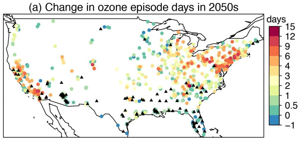These are mean changes from 2000-2009 to 2050-2059 in ozone episode days due to climate change. Credit: Lu Shen/Harvard University