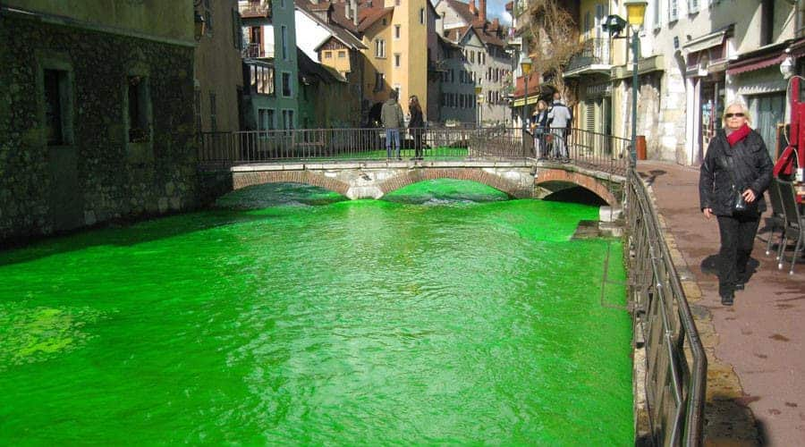 French Rivers Dyed Green To Raise Awareness About Water