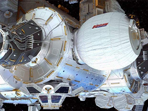 Beam module docked to the ISS (right). Illustration: Bigelow Aerospace