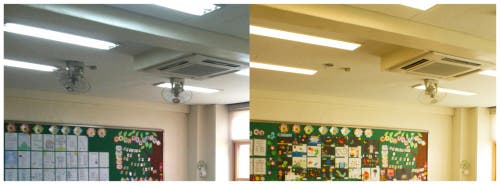 The original fluorescent lighting (left) replaced with tunable LEDs (right). Credit: OSA Publishing