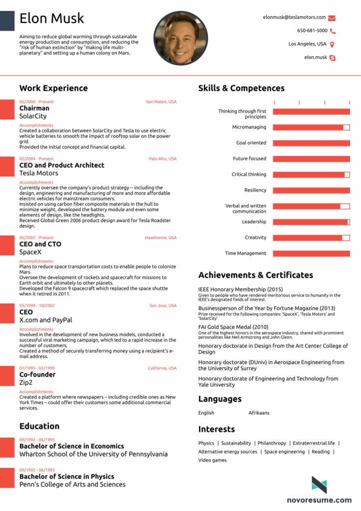What Elon Musk's CV looks like -- all in one page