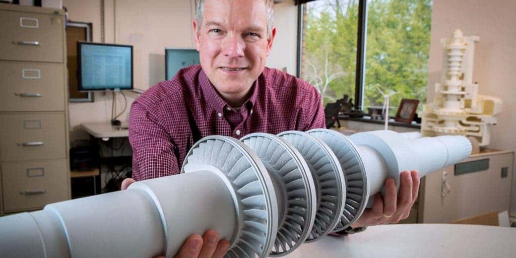 A plastic model of the turbine driven by supercritical CO2. Credit: GE Global Research