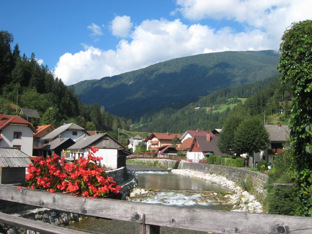 Slovenia: The Luče Village and Savinja River in the north-eastern mountains of the country.