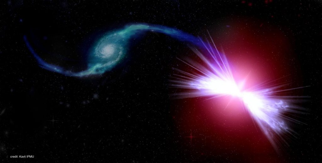 An artist's rendition of the galaxies Akira (right) and Tetsuo (left) in action. Credit: Kavli IPMU