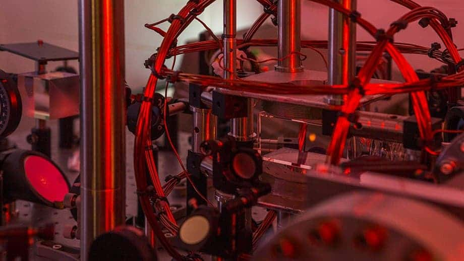 The red cloud in the image's center is the Bose-Einstein Condensate. Credit: Stuart Hay, ANU